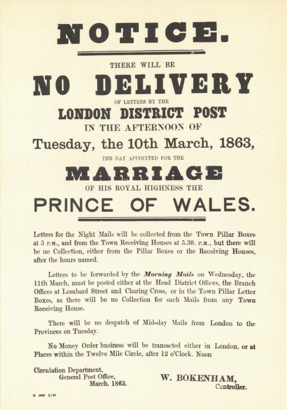 Postcard, London District Postal Notice Marriage Of The Prince Of Wales 1863 BU9
