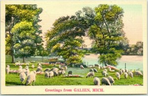 GALIEN, Michigan Greetings Postcard Sheep Herd Scene / NYCE Linen . 1940 Cancel