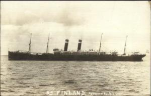 Panama Pacific Line Steamship SS Finland c1910 Real Photo Postcard