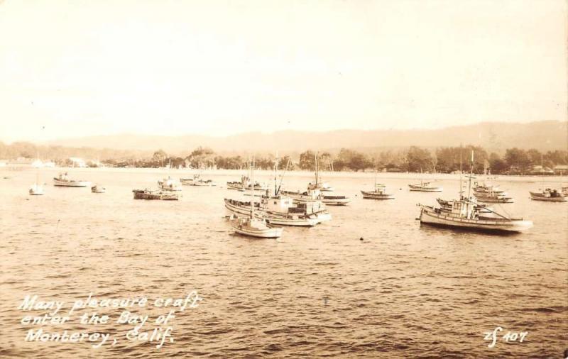 Monterey California Bay Boats Real Photo Antique Postcard K61471