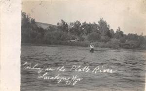 F36/ Saratoga Wyoming Postcard RPPC 1917 Platte River Fly Fishing