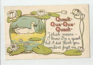 Postcard ~ Duck ~ Quack Quack ~ Lily Pads ~ Mailed 1911