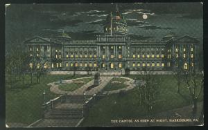 Harrisburg PA The State Capitol As Seen At Night   Vintage Postcard
