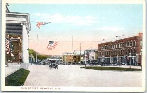 Newport, New Hampshire Postcard MAIN STREET Downtown Scene U.S. Flags c1930s