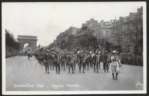 Military Band American Legion Parade Convention FRANCE RPPC Unused c1927