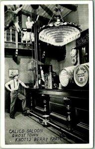 KNOTT'S BERRY FARM Calif. RPPC Photo Postcard CALICO SALOON Ghost Town c1950s