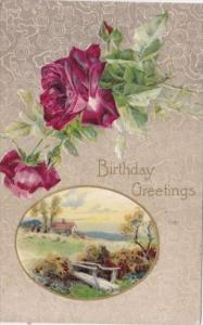 Brthday Greetings Landscape Scene and Red Roses 1911