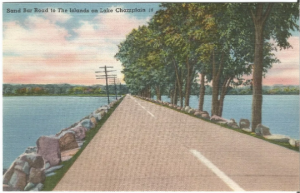 Vintage Postcard Linen Postcard, Sand Bar Road Lake Champlain Vermont, New York