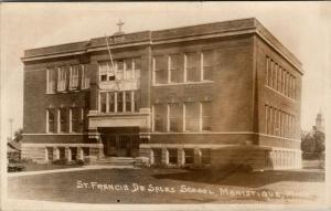 Manistique Michigan~St Francis de Sales Catholic School~c1920 Real Photo~RPPC