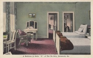 SAVANNAH , Georgia , 1910s ; Bedroom in suite C , De Soto Hotel