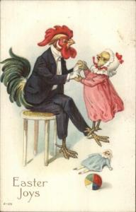 Easter Fantasy Chicken Rooster in Clothes Father Daughter Postcard jrf