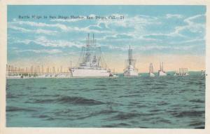 SAN DIEGO ,  California, 1910-30s ; Battleships in harbor