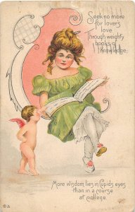 F99/ Valentine's Day Love Holiday Postcard c1910 Pretty Girl Cupid 8