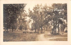 Miles City Montana Park Scenic View Real Photo Vintage Postcard JG236678