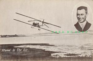 Circa-1913 Pioneer Aviation Postcard: Atwood in the Air & Inset Portrait