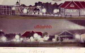 pre-1907 ROMONA AT NIGHT, REEDS LAKE, GRAND RAPIDS, MI. 1908