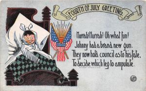 E16/ Patriotic Postcard Fourth of July 4th c1910 Leg Amputate Child FLags 5