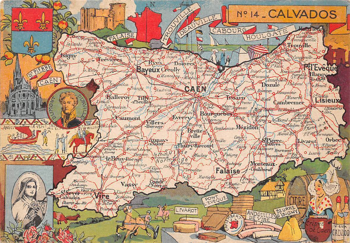 Calvados France Map.France Calvados Map Caen Bayeux St Pierre Caen Cathedrale Hippostcard