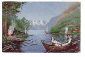 Painting, People Rowing Boat, Fires on the Shore, Printed in Germany, Blandfo...