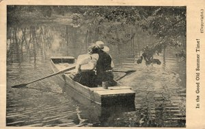 Vintage Postcard 1908 In the Good Old Summer Summer Time Man & Woman in Boat
