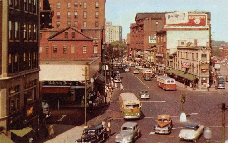 Portland Maine~Congress Square~Walgreen Drugs~Nice 1940s Cars~City Bus~1953 PC