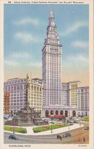 Union Terminal Tower Showing Soldiers And Sailors Monument Cleveland Ohio