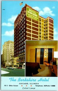 Chicago IL Postcard THE BERKSHIRE HOTEL Street View Curteich CHROME 1950s Unused