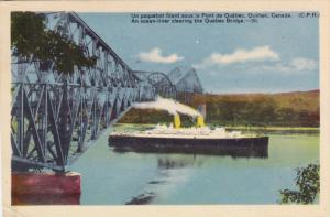 Ocean Liner going under Quebec Bridge , Quebec , Canada , 30-40s