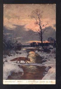 031942 Charming FOX near Winter River Vintage Color Russian PC