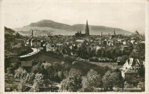 Germany Freiburg panorama 1940s postcard