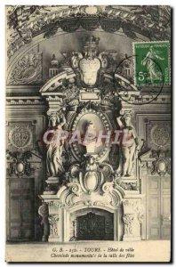Old Postcard Tours Hotel De Ville Fireplace Monumental De La Salle Des Fetes