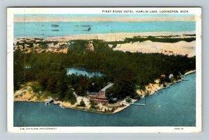 Ludington Michigan, Hamlin Lake, Piney Ridge Hotel, Advertising Vintage Postcard