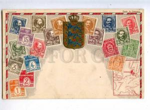 231916 Denmark Coat of arms STAMPS Vintage embossed Zieher PC
