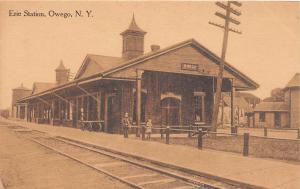 D91/ Owego New York NY Postcard c1910 Erie Railroad Station Depot 6