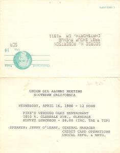 Glendale California~Union Oil Alumni Meeting~Pike's Verdugo Oaks Restaurant~1986