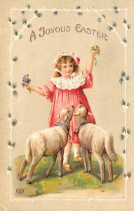 EAS Easter~Little Girl in Pink~2 Pet Lambs~Bells Around Neck~Pussy Willow Border
