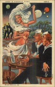 Curt Teich US Navy Comic Sailors Sexy Woman Stripper Semi Nude Linen Postcard