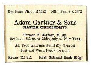 Adam Gartner & Sons Master Chiropodists Vintage Paper Advertisement