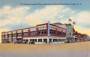 Fargo North Dakota Greyhound Bus Station Street View Antique Postcard K103256