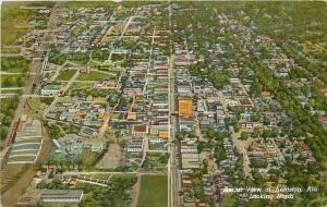 Anniston Alabama~Aerial~Looking North~Downtown~Business~Homes~1943 Postcard