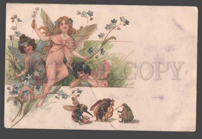098502 Winged FAIRY Elf Musical BEETLE BEE Litho ART NOUVEAU
