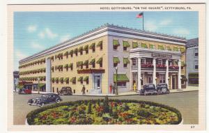P406 JL linen postcard gettysburg hotel old cars penn