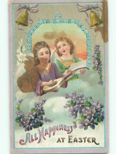 Pre-Linen easter ANGELS WITH GUITAR AND SHEET MUSIC J2316