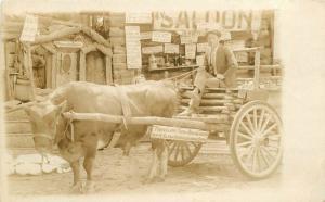 ARKANSAS Traveling Cart and Saloon C-1910 RPPC real photo postcard 4282