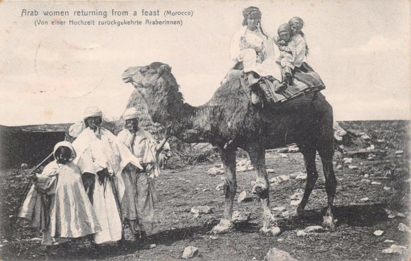 MAZAGAN MOROCCO AFRICA~ARAB WOMEN RETURNING FROM A FEAST~R HEDRICH POSTCARD 1907