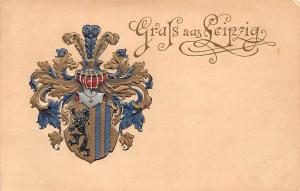 Heraldic postcard German Empire Leipzig embossed coat of arms 1899