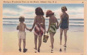 New Jersey Atlantic City Children Having A Wonderful Time On The Beach 1950