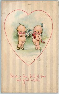 Vintage Gibson VALENTINE'S DAY Postcard KEWPIES Here's a Box Full of Love 1919