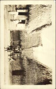 La Ceiba Honduras Thatch Huts & Natives 1938 Used Real Photo Postcard myn