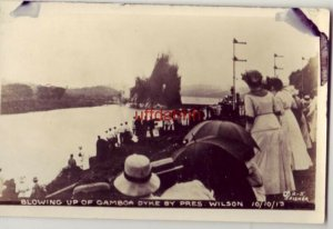 J. Fisher RPPC CANAL ZONE BLOWING UP OF GAMBOA DYKE BY PRES. WILSON OCT 10, 1913